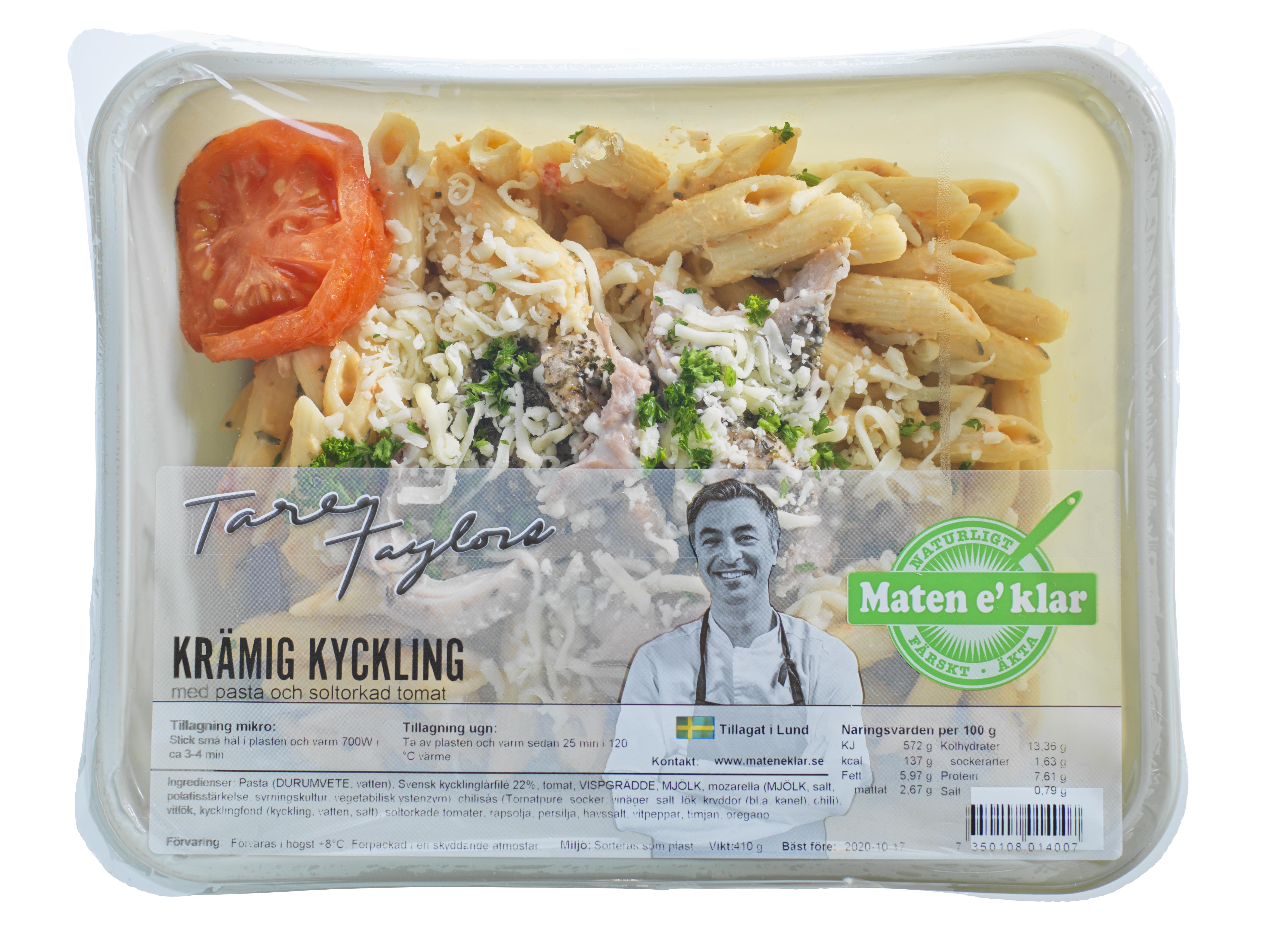 Tareqs Krämiga kycklinggratäng med soltorkade tomater, basilika och pasta. Basta! Svensk kyckling i en krämig sås med soltorkade tomater och basilika.