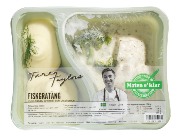 Tareqs Fiskgratäng med dillsås, broccoli och potatismos. Man hör änglarna sjunga. Färsk sejfilé med krämig dillsås, färsk broccoli och ett rikt potatismos på färsk potatis och svenskt smör.
