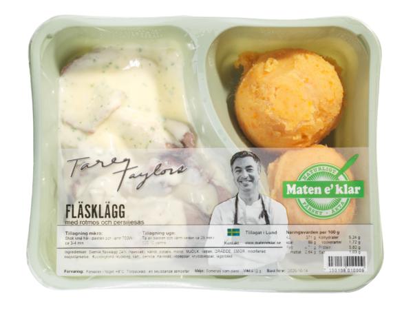 Tareqs Fläsklägg med rotmos och persiljesås. All glädje utan rotmos är konstlad glädje. Svenskt kött, klassiskt rotmos och len persiljesås.