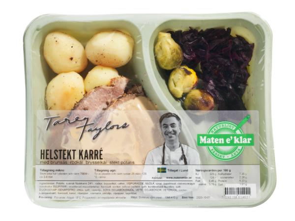 Tareqs Helstekta karré med skysås, rödkål, brysselkål och stekt potatis. Tradition och kvalité. Svensk karré, hemlagad rödkål, god skysås och stekt potatis